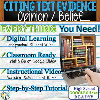 TEXT EVIDENCE / CONSTRUCTED RESPONSE Writing Prompt - Opinion - High School