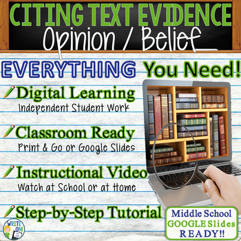 TEXT EVIDENCE / CONSTRUCTED RESPONSE Writing Prompt - Opinion - Middle School