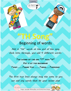 """TH"" Articulation Song (beginning of words)"