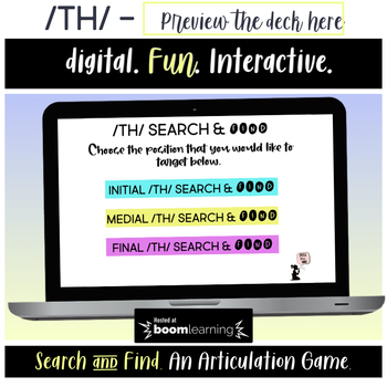 TH BOOM Cards™ - Search & Find Articulation Game - Initial, Medial, & Final TH