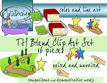 TH Blend Phonics Clip Art Set - Color and Line Art 16 pc set
