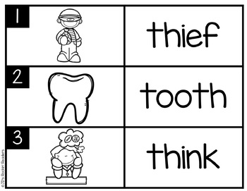 TH Digraph Literacy Center Activity
