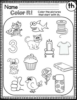 TH Digraph Worksheets - TH Digraph Activities