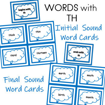 TH Initial and Final Sound Word Cards
