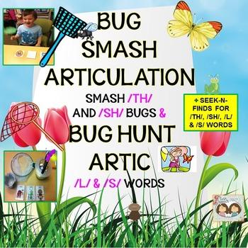 /TH/ & /SH/ Word Bug Smash & /S/ & /L/ Word Bug Hunt Articulation