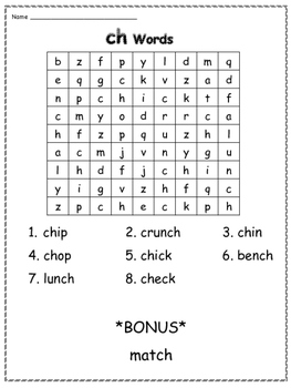 TH, SH and CH Word Searches (Digraphs)