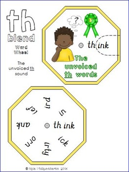 TH Sound Word Wheels and foldable worksheet