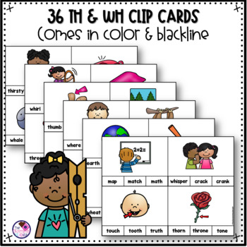TH & WH Digraph Clip Cards and Printables