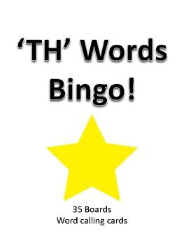 'TH' Words BINGO!