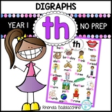 Digraphs: TH Worksheets ~ NO PREP Printables