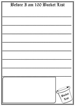 100 days of school Bucket List writing