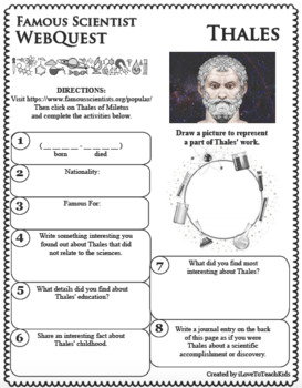THALES - WebQuest in Science - Famous Scientist - Differentiated
