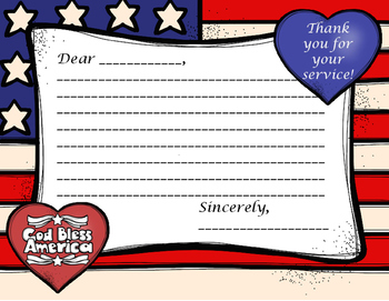 THANK A VETERAN!  STARS AND STRIPES THANK YOU LETTER TEMPLATE FOR VETERANS DAY!