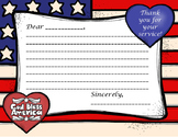 THANK A VETERAN!  STARS AND STRIPES THANK YOU LETTER TEMPLATE, ONLINE,VIRTUAL