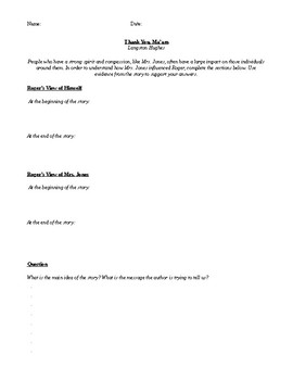 THANK YOU MA'AM BY LANGSTON HUGHES COMPREHENSION QUESTIONS HANDOUT