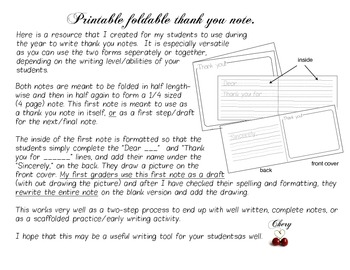 THANK YOU NOTE Writing Resource K-2