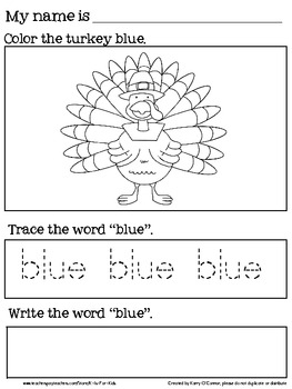 THANKFUL for COLORS - PreK and Kindergarten Colors Book - Color, Trace, Write