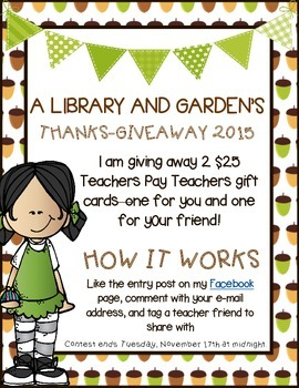 THANKS-GIVEAWAY 2015 - TPT Gift Card for You AND a Friend! FREEBIE!!