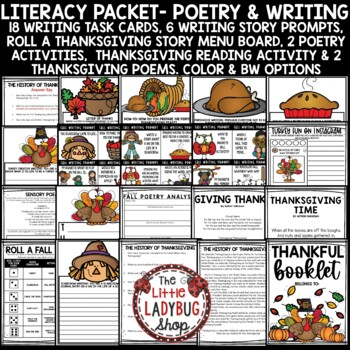Thanksgiving Writing- I am Thankful For... Fall Activities & Thanksgiving Poetry
