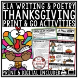 Thanksgiving Writing- I am Thankful For... Fall Activities