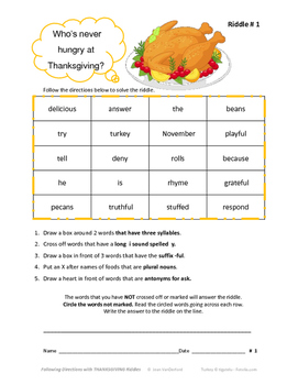 THANKSGIVING VOCABULARY Riddles  FOLLOW DIRECTIONS  LANGUAGE CORE  Gr  4-5