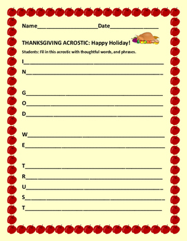 THANKSGIVING ACROSTIC: HAPPY HOLIDAY!