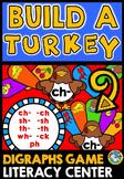 THANKSGIVING ACTIVITIES 1ST GRADE, KINDERGARTEN (BUILD A TURKEY DIGRAPHS GAME)