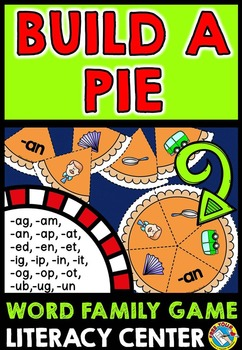 LITERACY THANKSGIVING ACTIVITIES: BUILD A PUMPKIN PIE: WORD FAMILIES GAME