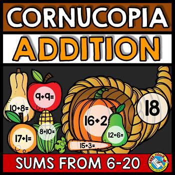 THANKSGIVING ACTIVITIES FIRST GRADE (BUILD A CORNUCOPIA ADDITION GAME)