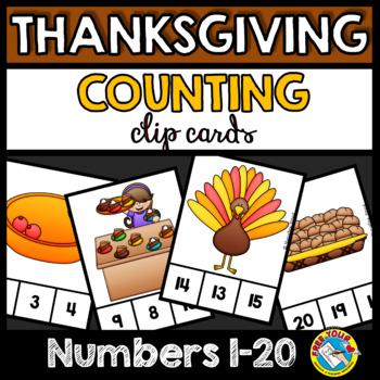 THANKSGIVING ACTIVITIES (KINDERGARTEN COUNTING CENTERS) NUMBERS 1-20
