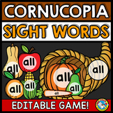 THANKSGIVING ACTIVITIES KINDERGARTEN (EDITABLE SIGHT WORDS GAMES) EDITABLE
