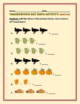THANKSGIVING ADDITION ACTIVITY K & 1