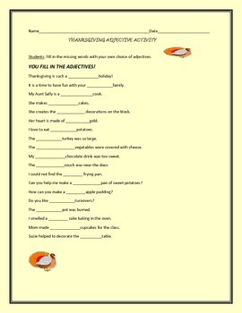 THANKSGIVING ADJECTIVE ACTIVITY, GRADES 4-6