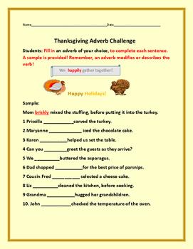 THANKSGIVING ADVERB CHALLENGE: GRADES 3-7, ESL, ELA ACTIVITY