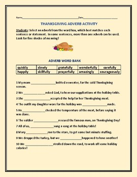 THANKSGIVING ADVERB WORD BANK ACTIVITY
