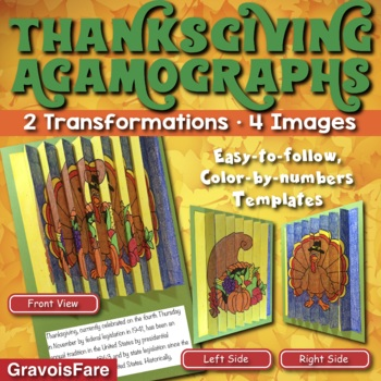 THANKSGIVING Activities and Crafts: Three Color-by-Number Agamographs