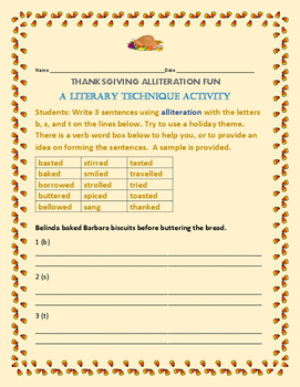 THANKSGIVING ALLITERATION FUN: A LITERARY TECHNIQUE ACTIVITY