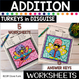 THANKSGIVING Addition Coloring Worksheets Math Turkeys in Disguise