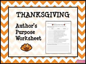 THANKSGIVING Author's Purpose Worksheet