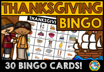 THANKSGIVING BINGO GAME FOR WHOLE CLASS: FIRST THANKSGIVING ACTIVITIES + MODERN