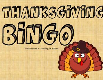 THANKSGIVING BINGO! {Set of 22 Cards!}