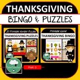 THANKSGIVING GAMES BUNDLE Bingo & 20 Number Puzzles