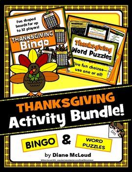 THANKSGIVING Bundle! Thanksgiving Bingo and Word Puzzles