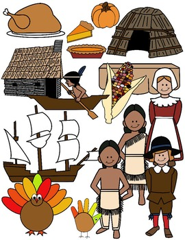 THANKSGIVING CLIP ART * COLOR AND BLACK AND WHITE