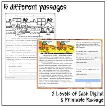 THANKSGIVING CLOSE READING MYSTERY PASSAGES