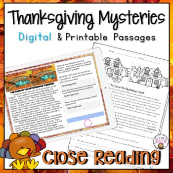 CLOSE READING PASSAGES THANKSGIVING MYSTERIES READING COMPREHENSION PRACTICE