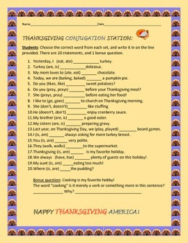 THANKSGIVING CONJUGATION ACTIVITY