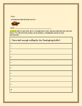THANKSGIVING CONTRACTION ACTIVITY: GRADES 3-6