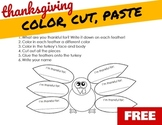 THANKSGIVING: Color, Cut, Paste TURKEY