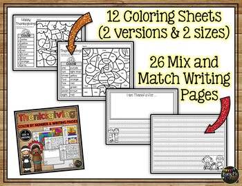 THANKSGIVING Coloring Sheets Color Pages Pilgrims Indians Turkey and Food